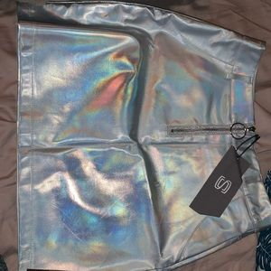 Small iridescent silver rave skirt